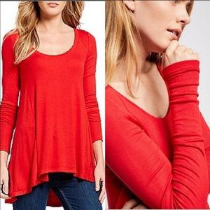 Free People | Red Ribbed January Top